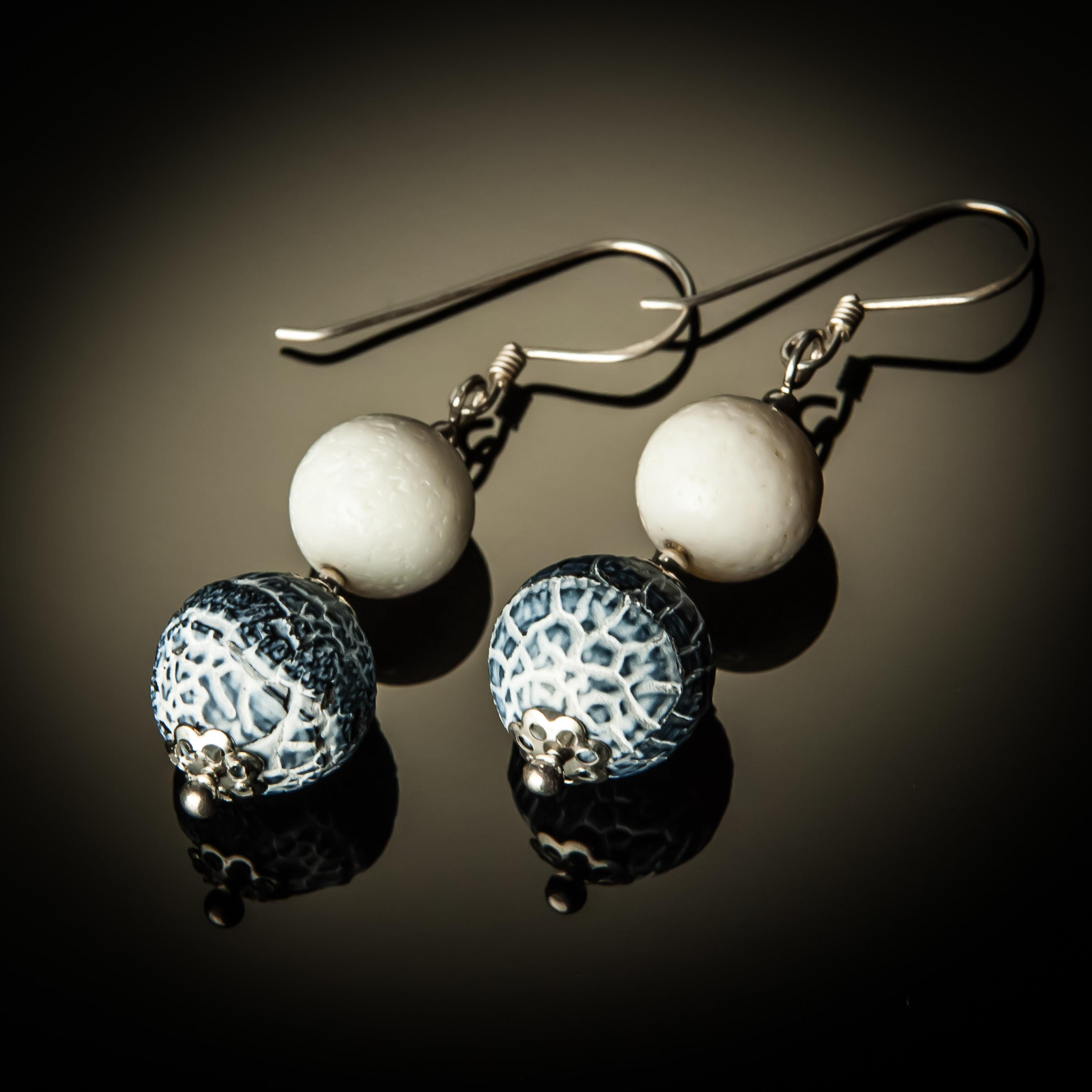 Denim Fossil Agate Sterling Silver Earrings 758-ER