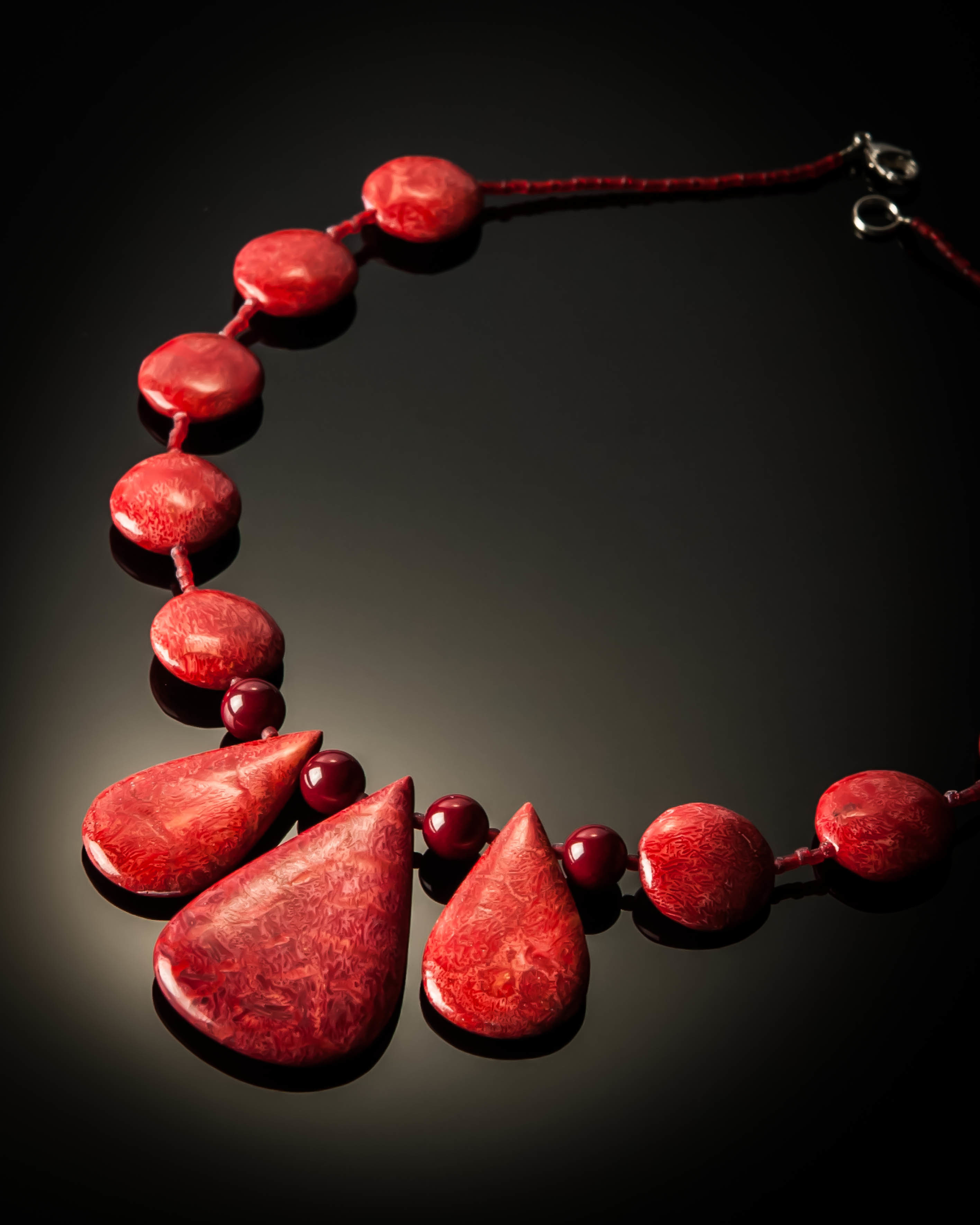 Red Coral Teardrop Necklace 716Red