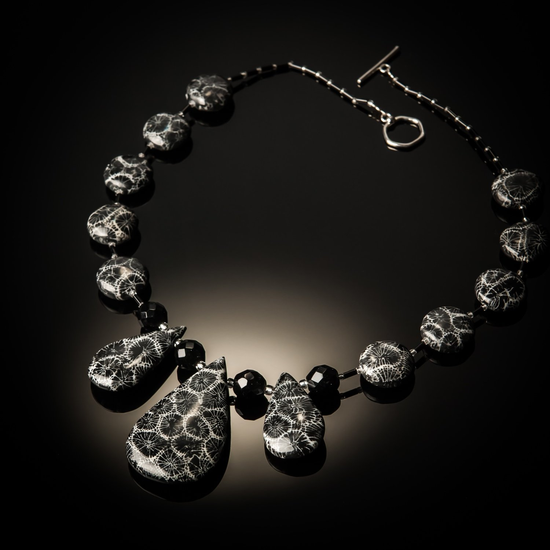 Black Coral Teardrop Necklace