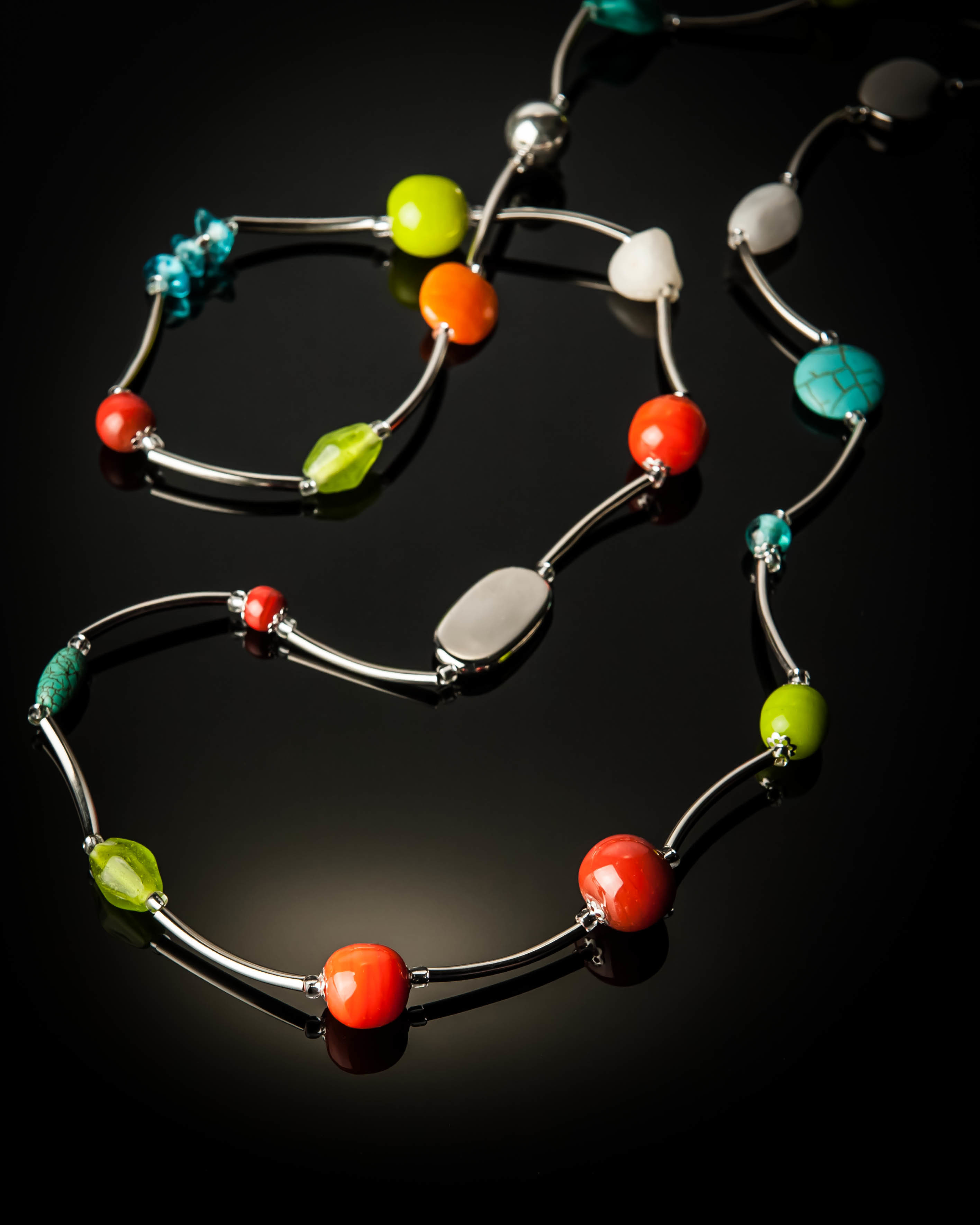 Turquoise Lime Green Stainless Steel Necklace 674