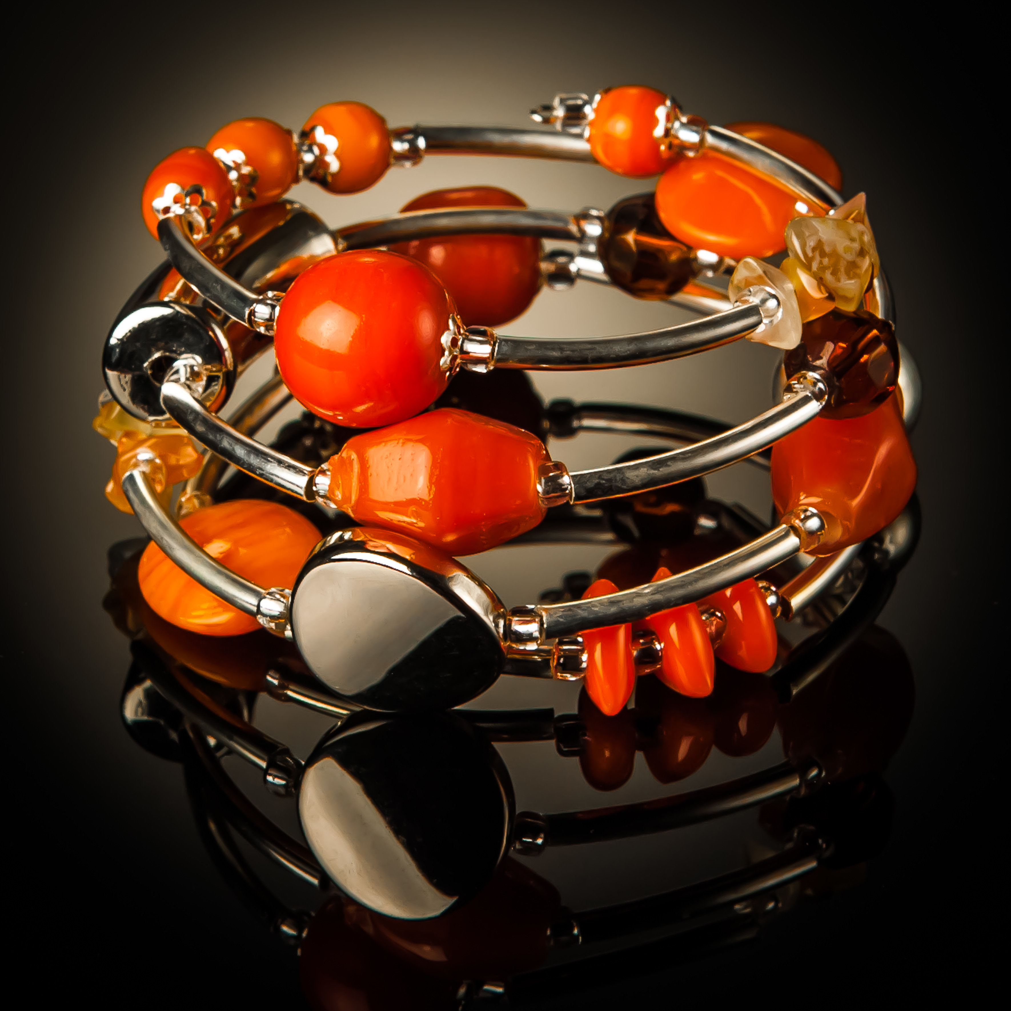 Orange Glass Twist Bracelet 673