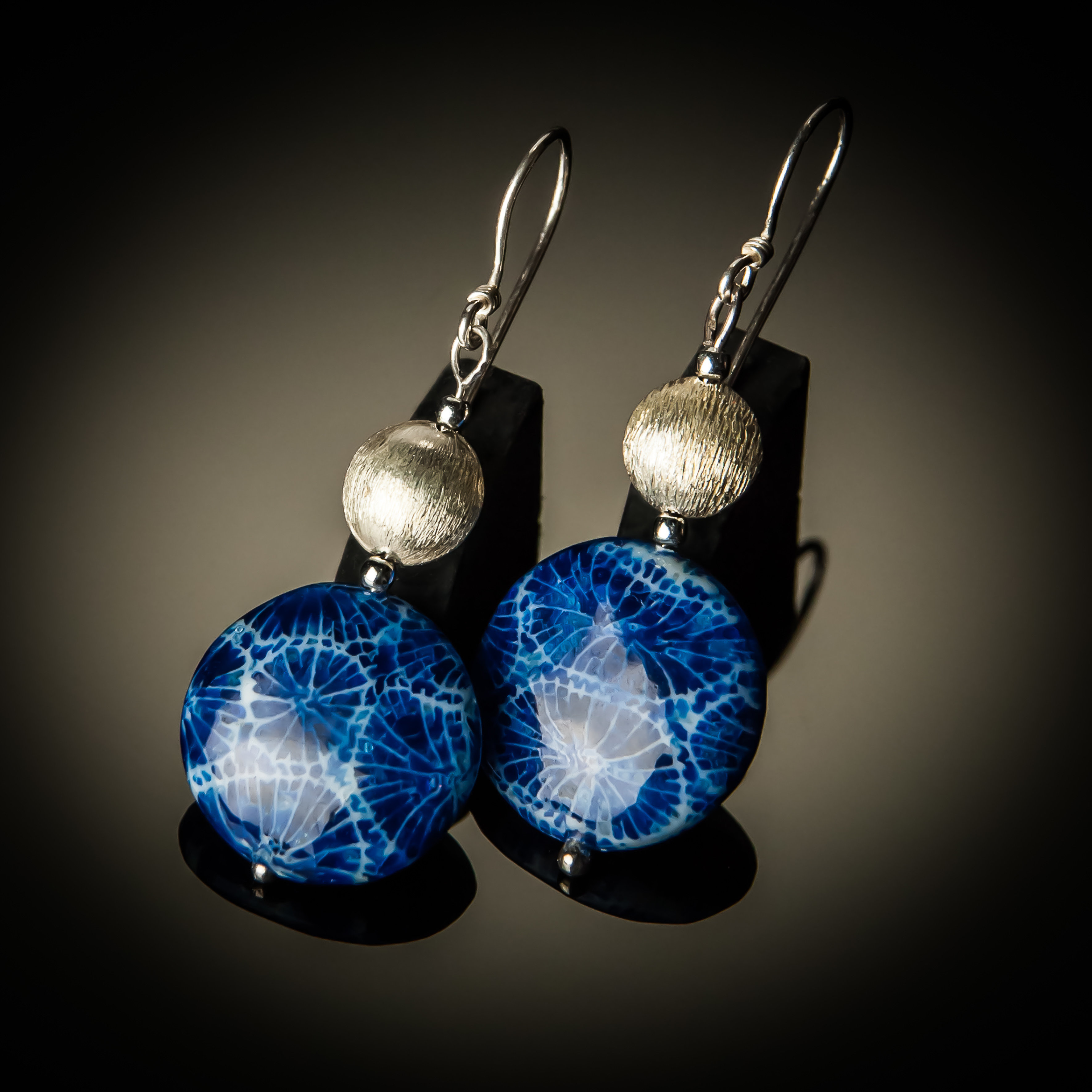 Blue Coral Sterling Silver Earrings 658-ER-Blue coral