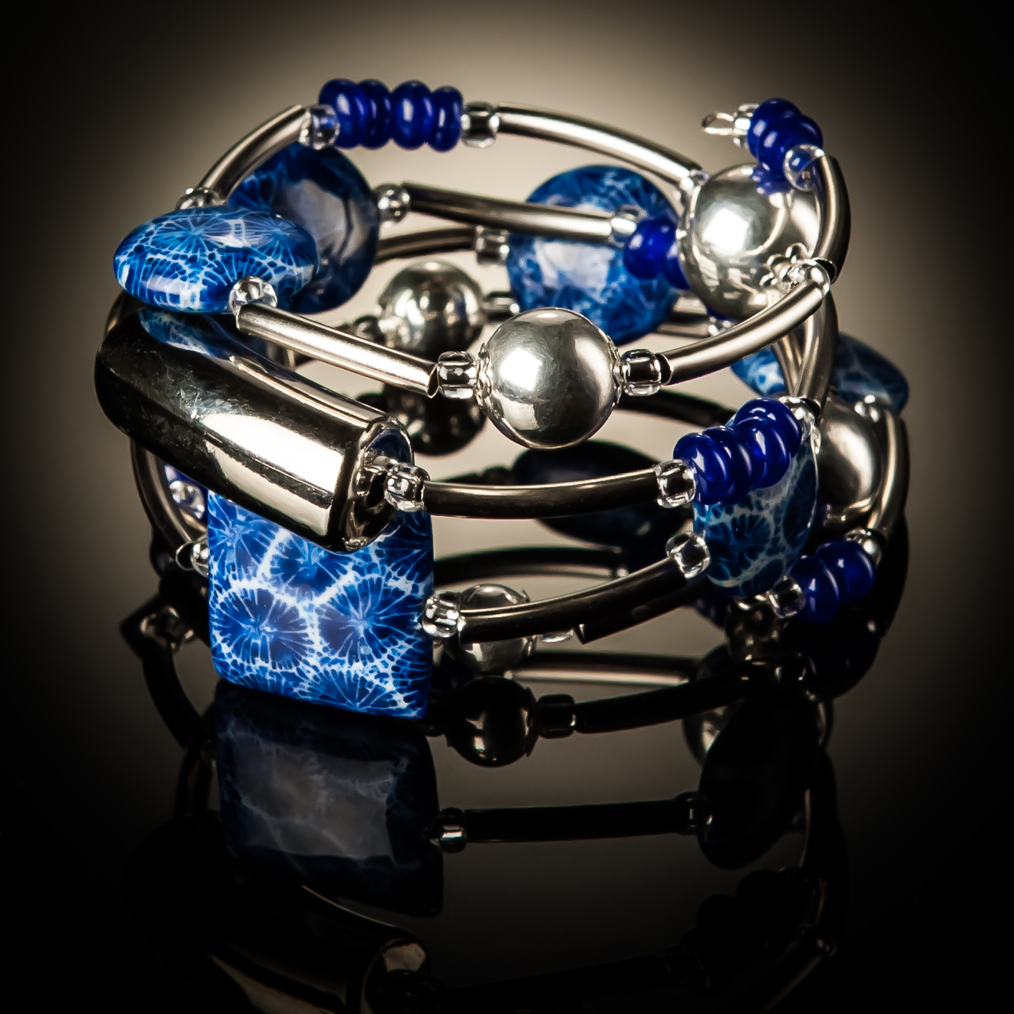 Blue Coral Twist Bracelet 648 Blue