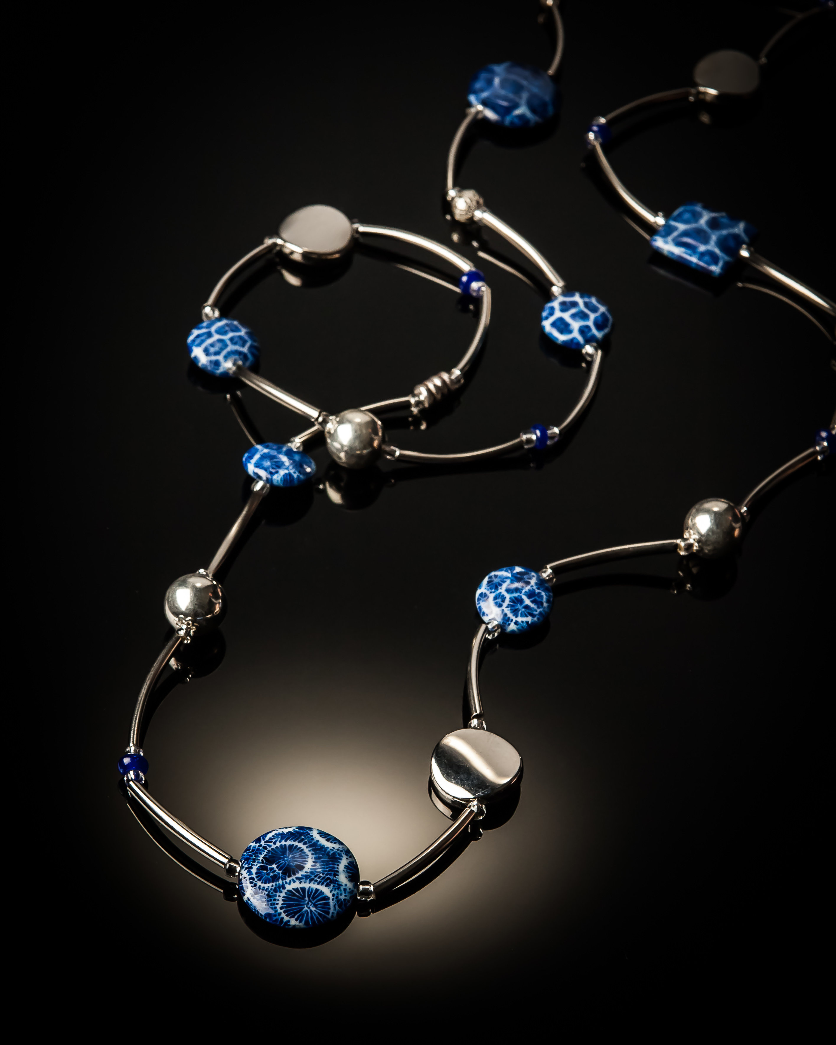 Blue Coral Stainless Steel Necklace 645