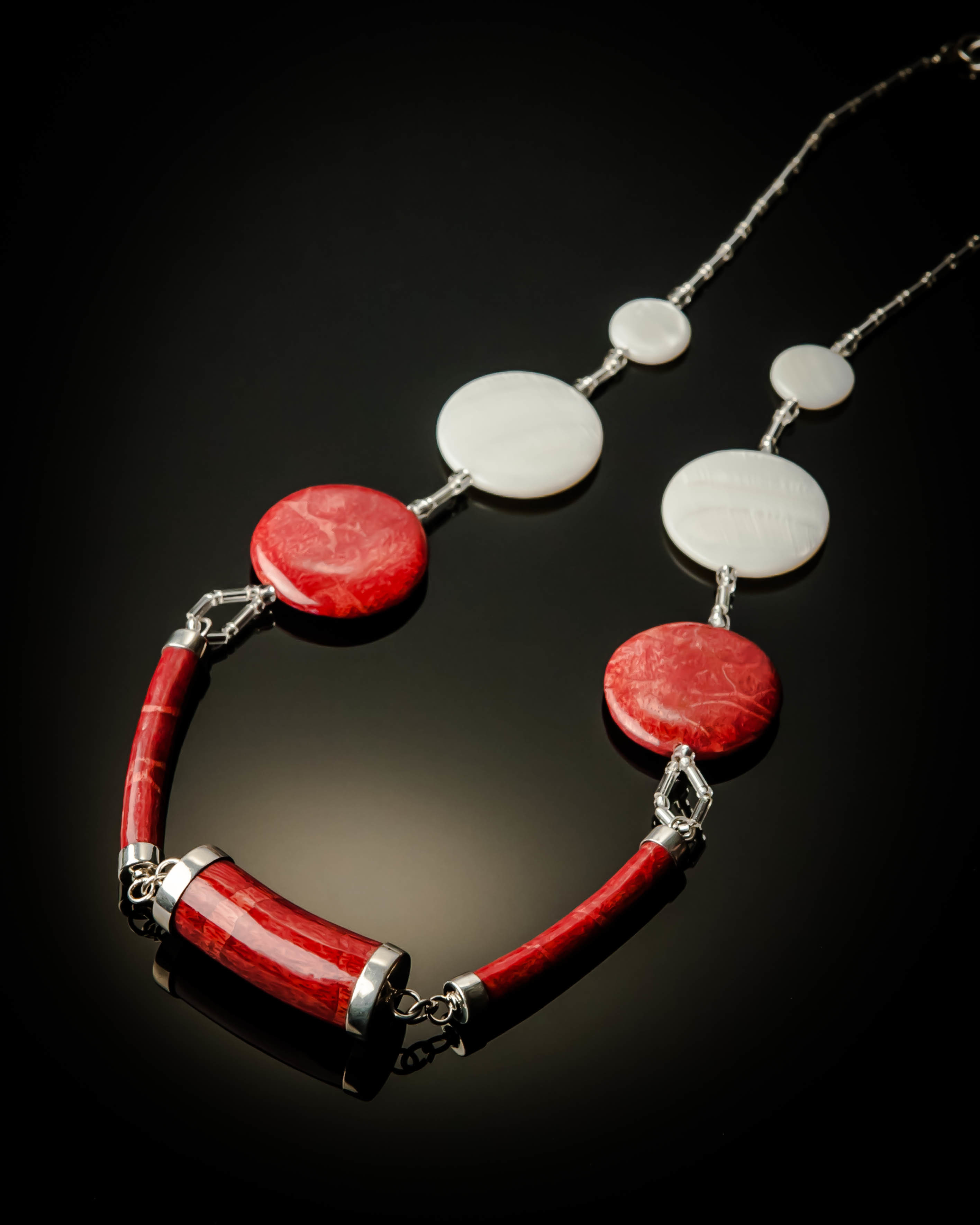 Red Coral White Mother of Pearl Necklace 642R