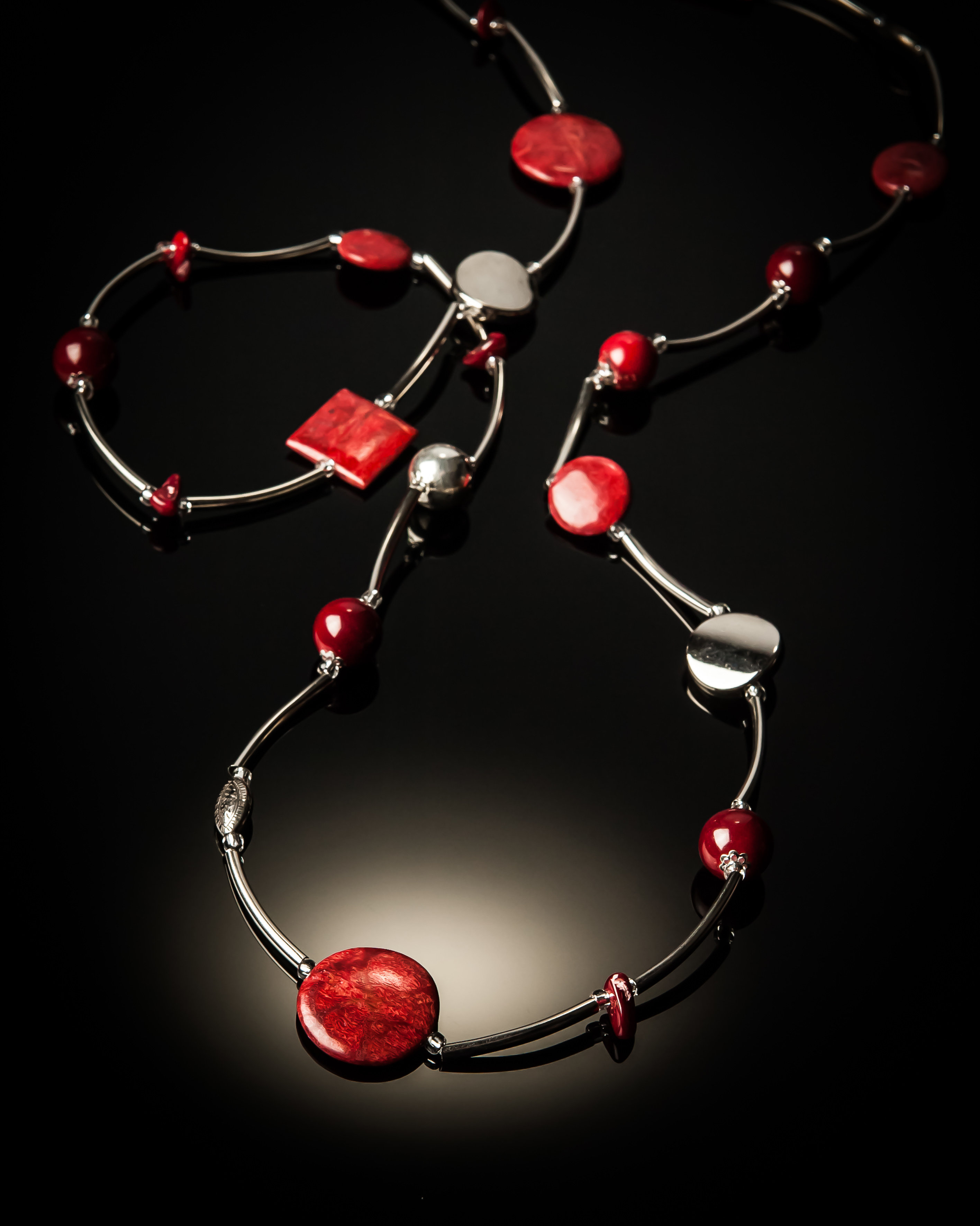 Red Coral Stainless Steel Necklace 629