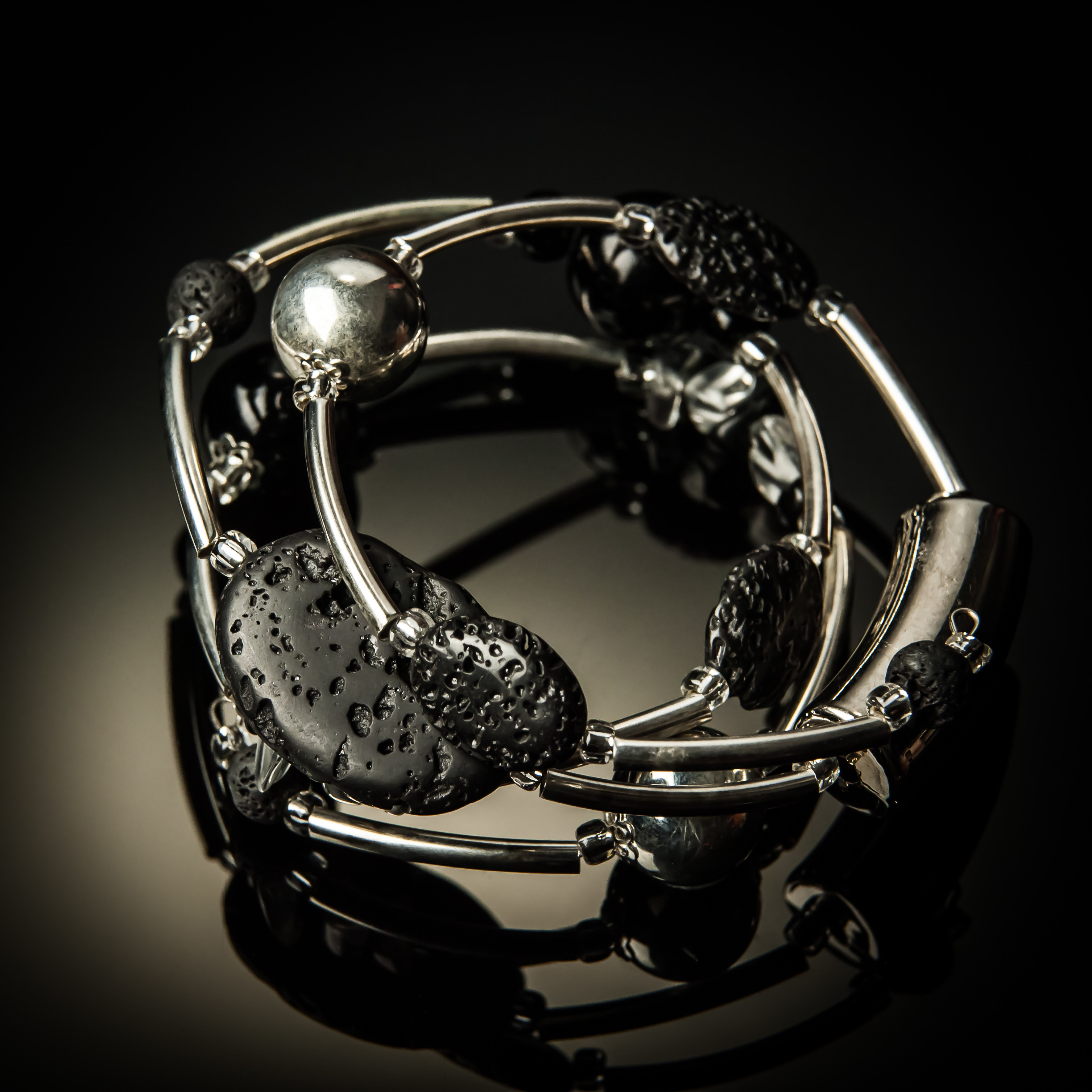 Black Lava Rock Twist Bracelet 622