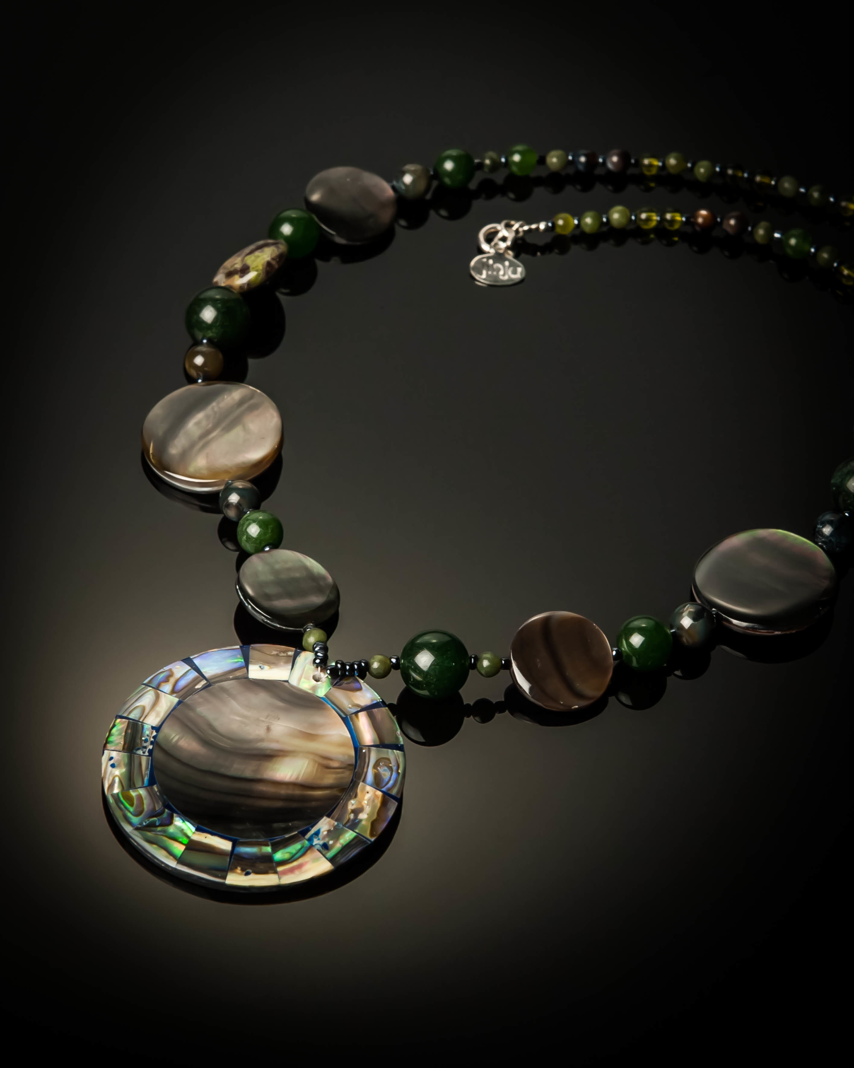 Gray Mother of Pearl with Abalone Necklace 1087