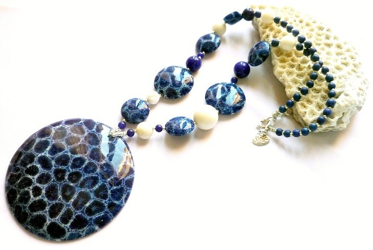 Blue Coral Pendant White Coral and Blue Coral Beads 1081