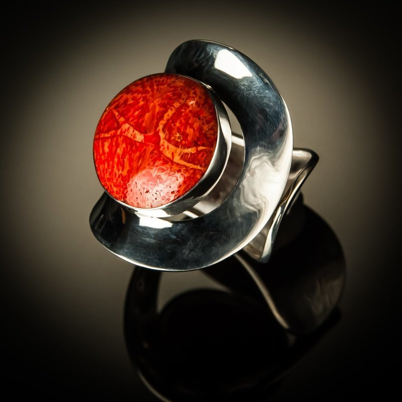 Curved Red Coral Sterling Silver Ring
