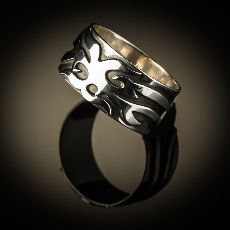 Sterling Silver Harley Flame Unisex Ring