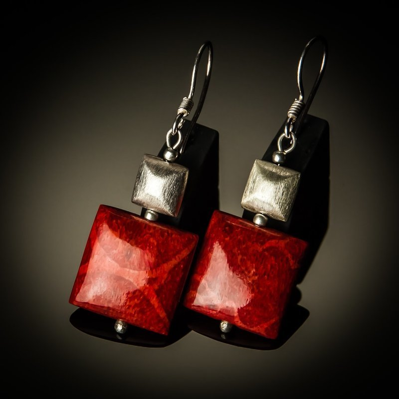 Red Coral Square Sterling Silver Earrings