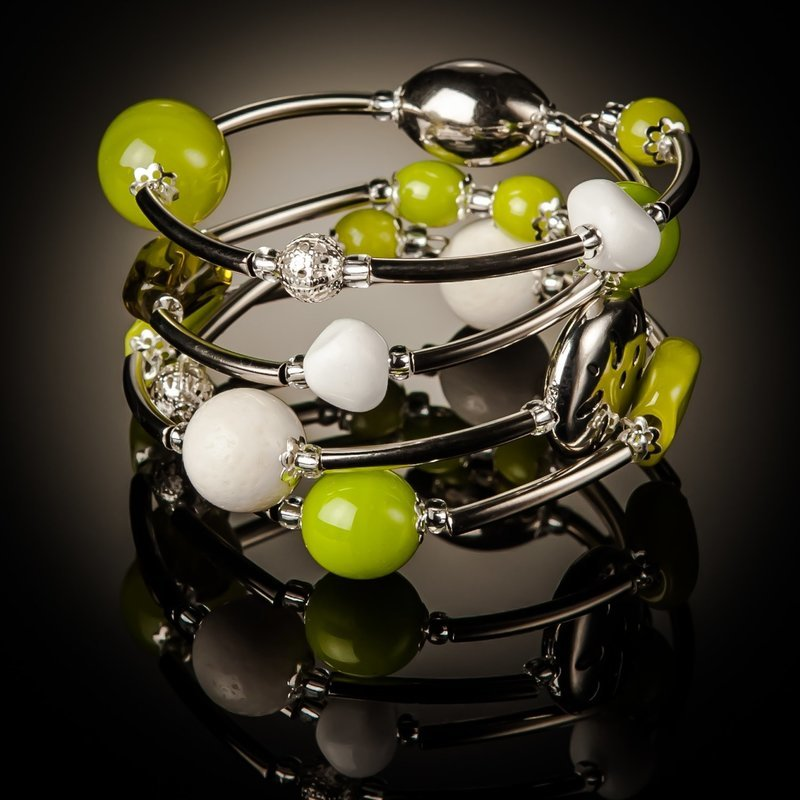 Green White Coral Twist Bracelet