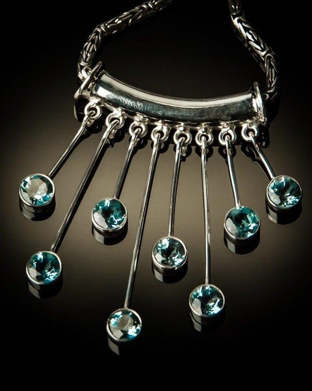 Sterling Silver Blue Topaz Drop Pendant