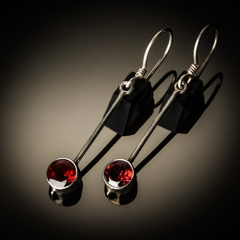 Garnet Drop Sterling Silver Earrings