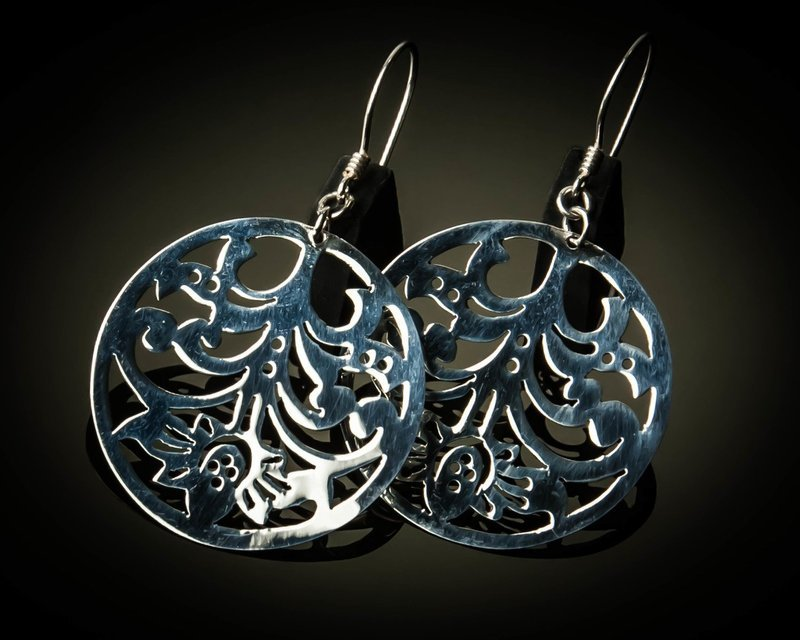 Round Sterling Silver Cutout Earrings Small