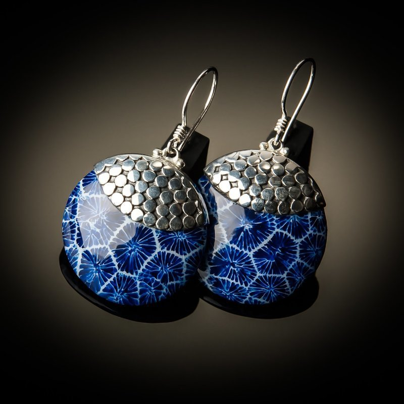 Blue Coral Round Sterling Silver Earrings