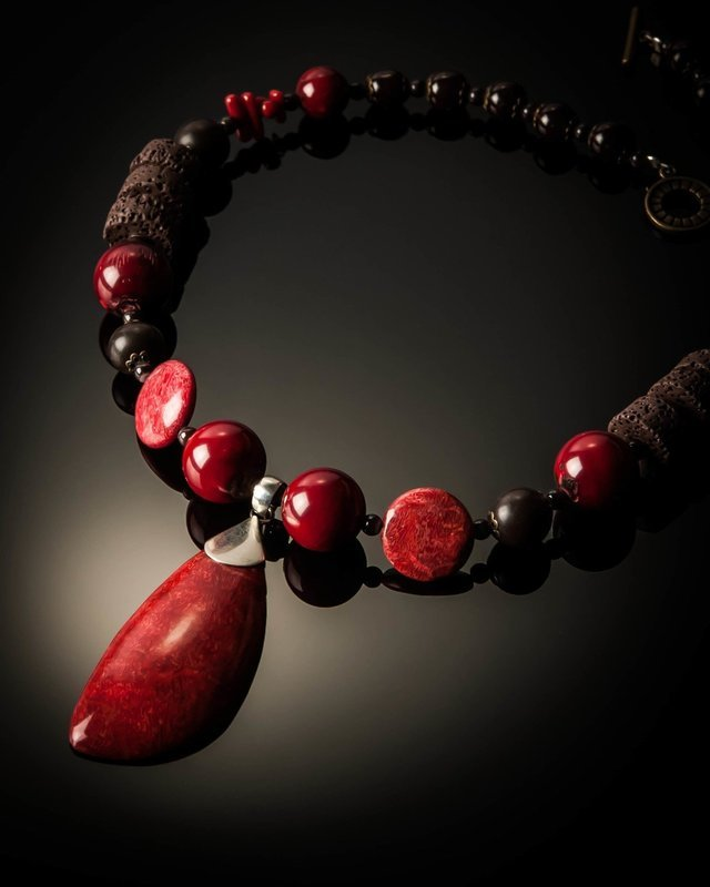 Red Coral Brown Lava Necklace