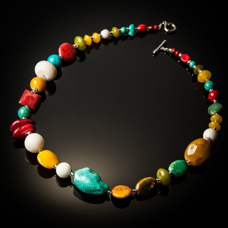Red Coral Turquoise White Coral with Yellow Beads