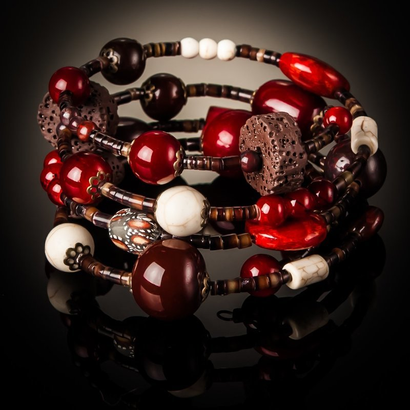 Red Coral Brown Bead Twist Bracelet