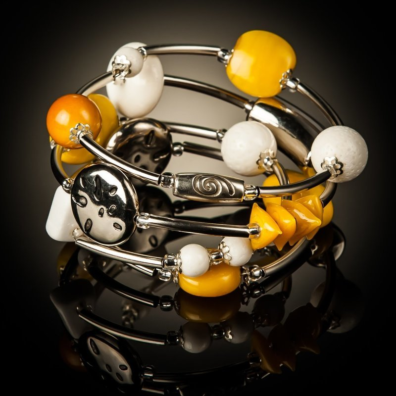 White Coral Yellow Bead Twist Bracelet