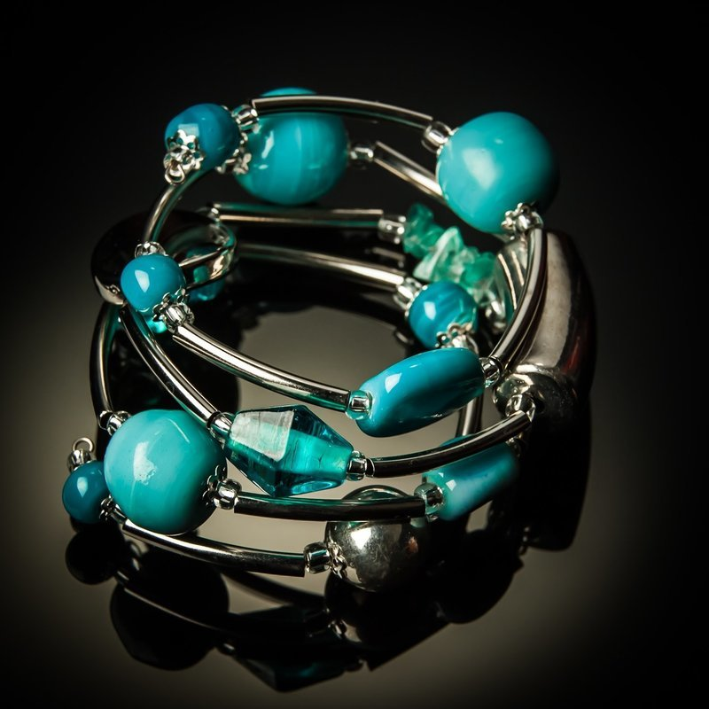 Light Blue Glass Twist Bracelet