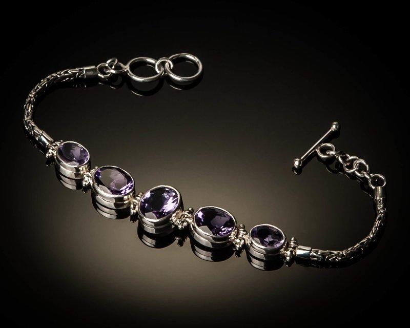 Sterling Silver Natural Amethyst Bracelet