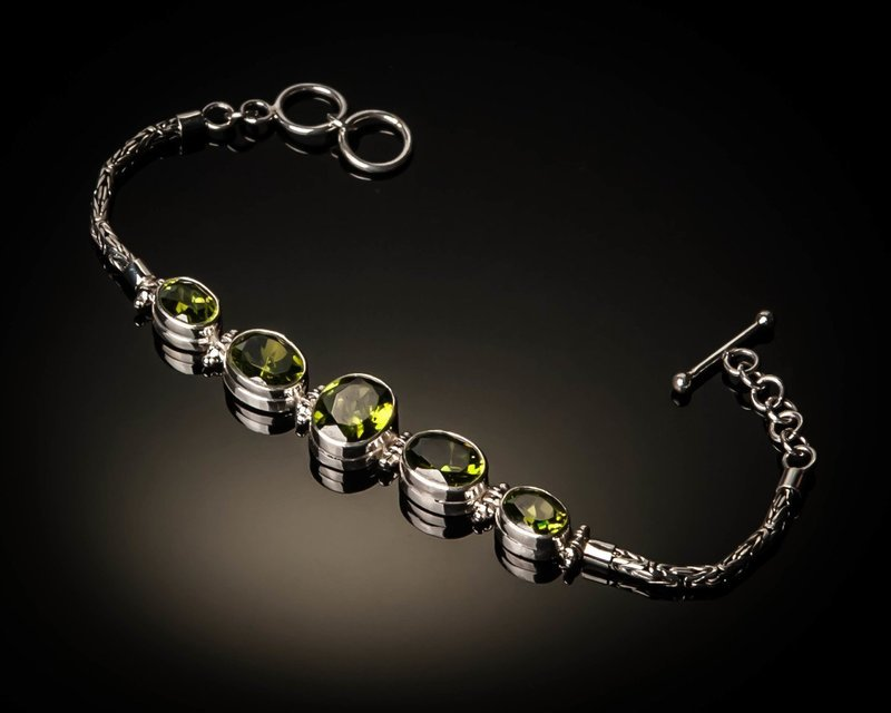 Sterling Silver Natural Peridot Bracelet