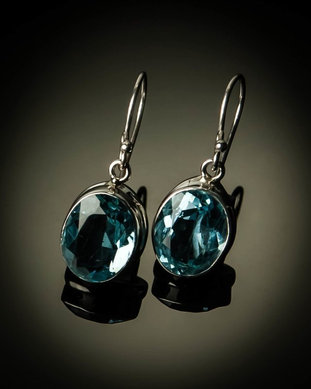 Sterling Silver Natural Blue Topaz Earrings