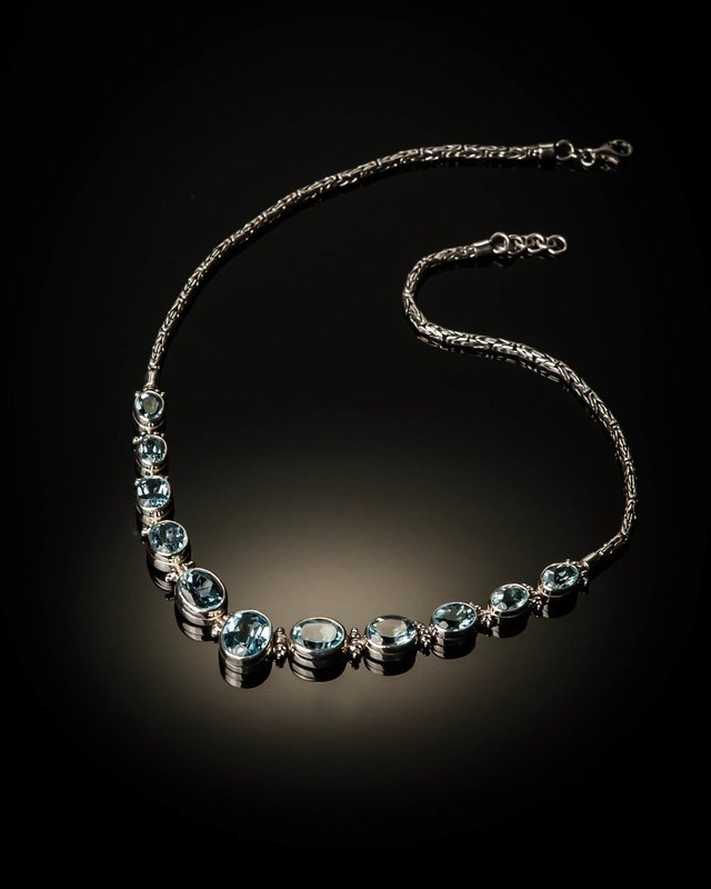 Sterling Silver Natural Blue Topaz Necklace