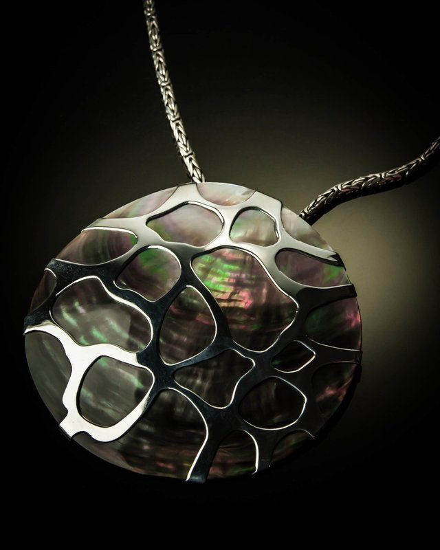 Gray Mother of Pearl XL Cobweb Sterling Silver Pendant
