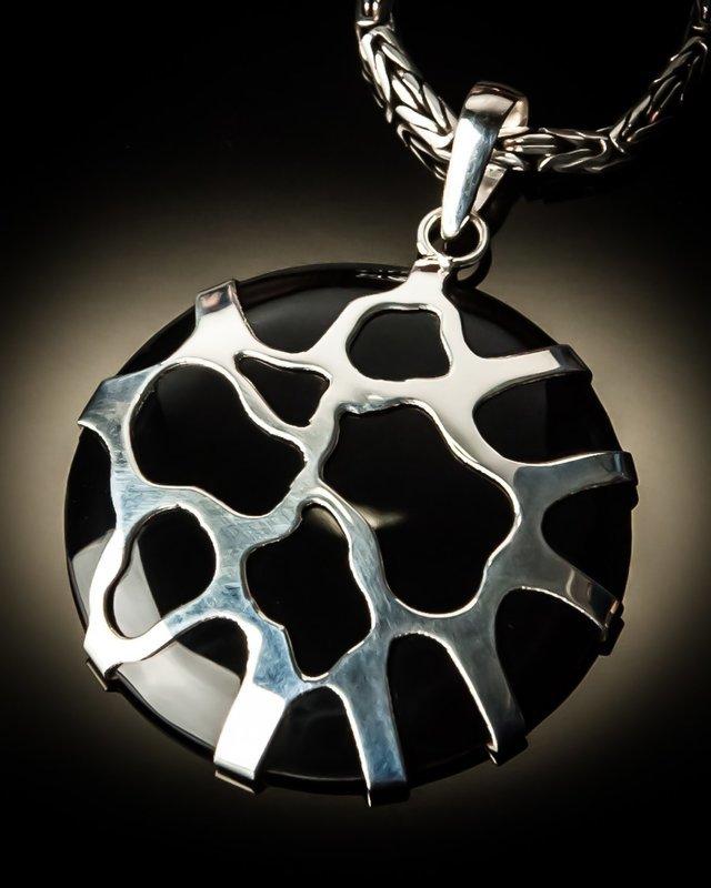 Black Shell Sterling Silver Cobweb Pendant