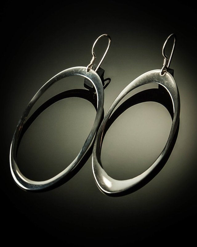 Oval Sterling Silver Earrings- Large