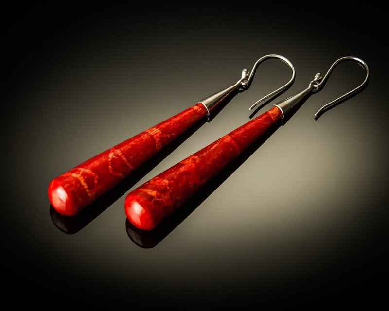 Red Coral Cone Sterling Silver Earrings- Large