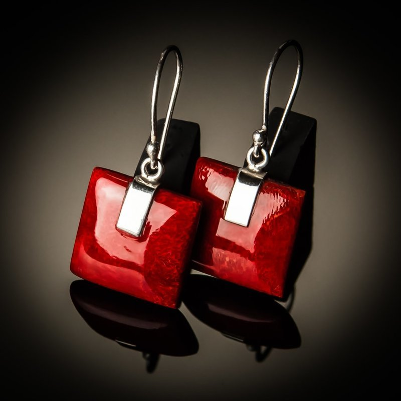 Red Coral Square Sterling Silver Earrings- Large