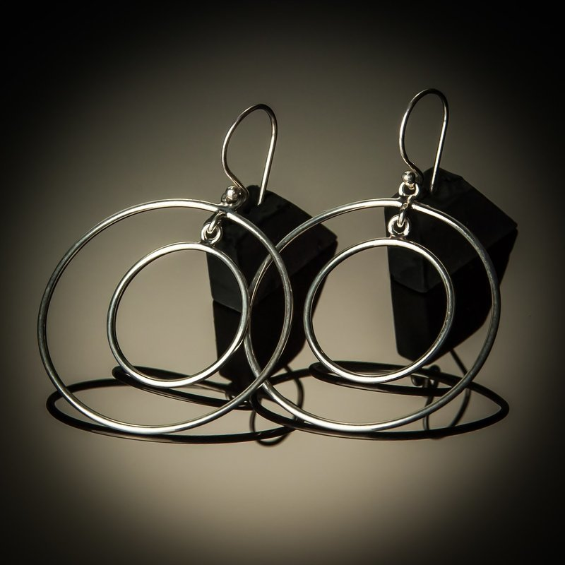 Double Hoop Round Sterling Silver Earrings