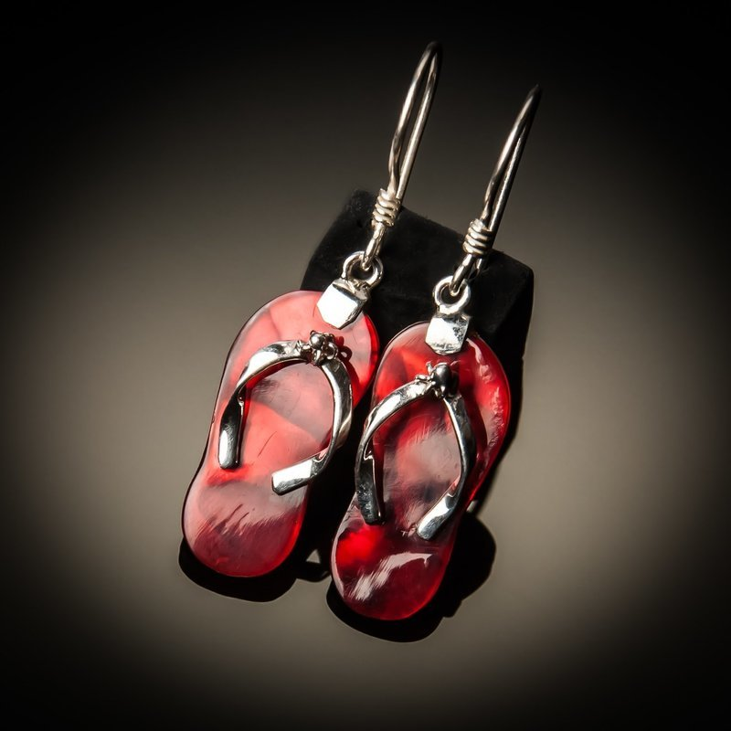 Red Abalone Flip-Flop Sterling Silver Earrings