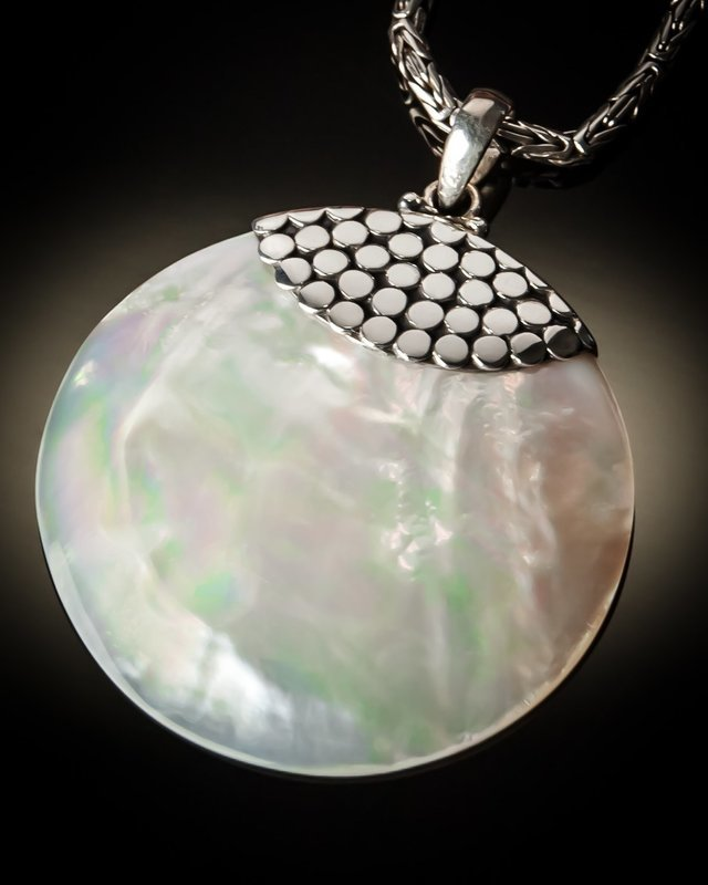 Mother of Pearl Round Sterling Silver Pendant