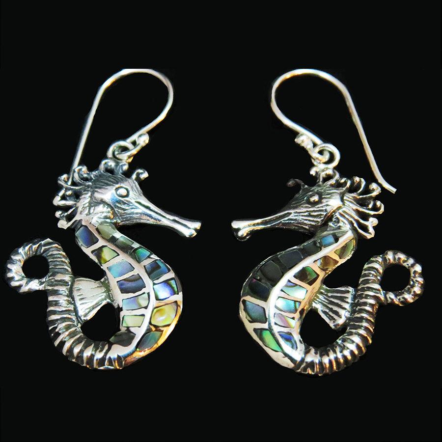 Sterling Silver Abalone Seahorse Earrings ER-AER-4