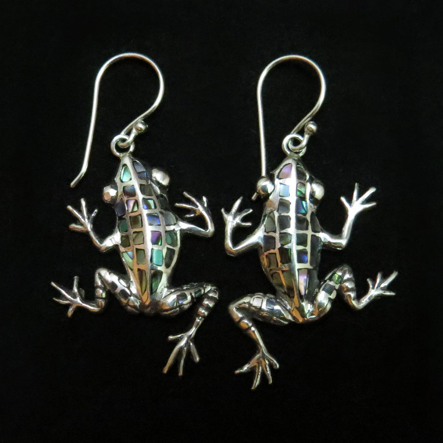 Sterling Silver Abalone Frog Earrings ER-AER-2