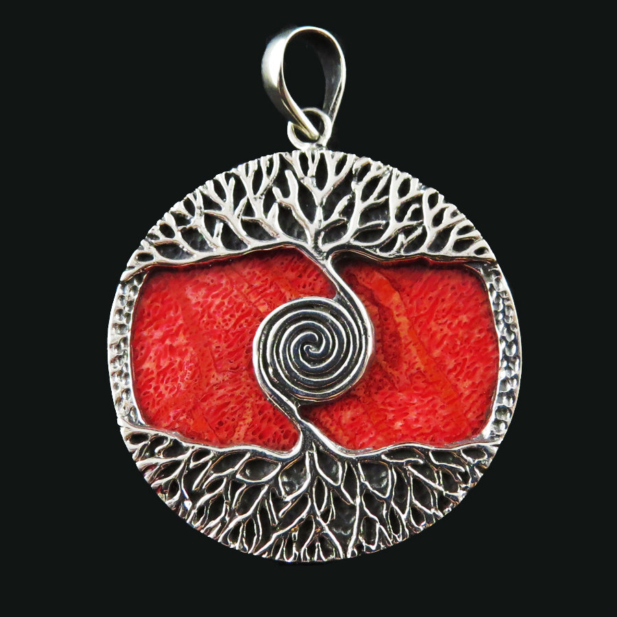 Red Coral Sterling Silver Tree of Life Pendant P-APD-4021