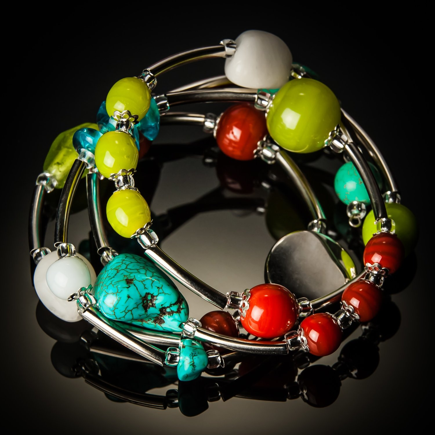 Turquoise Multi color Spring Mix Twist Bracelet
