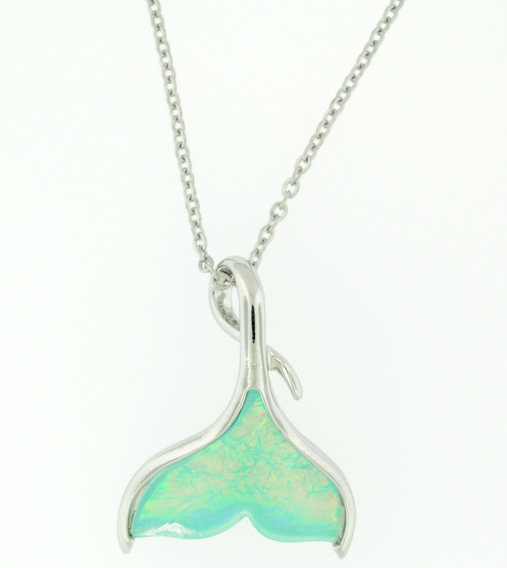 Whale Tail Iridescent Pendant