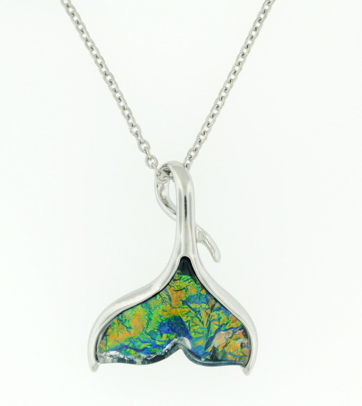 Green/Blue Whale Tail Necklace