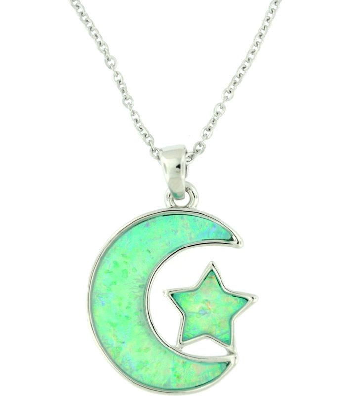Light Blue Moon Necklace