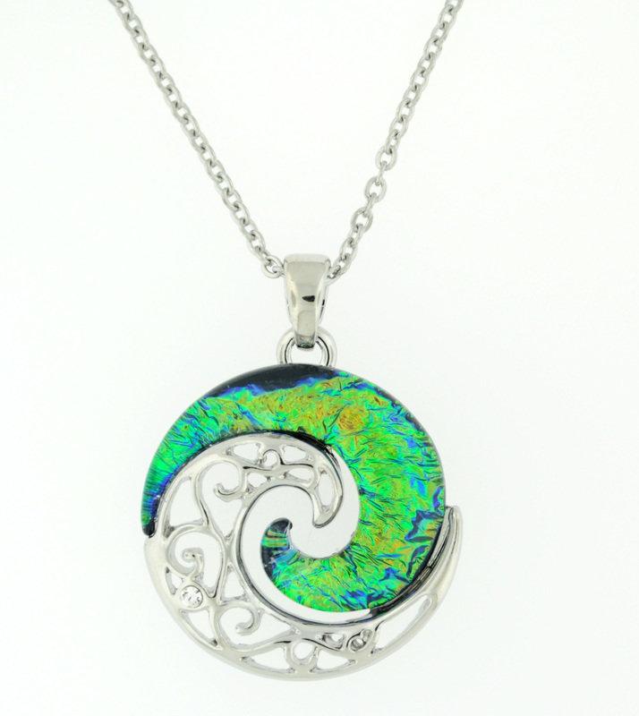 blue/green balance mandala necklace