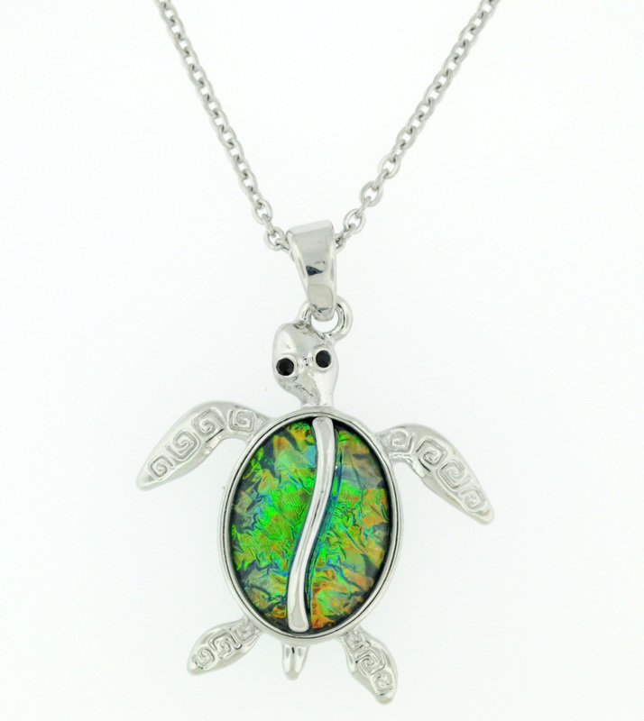blue/green sea turtle necklace