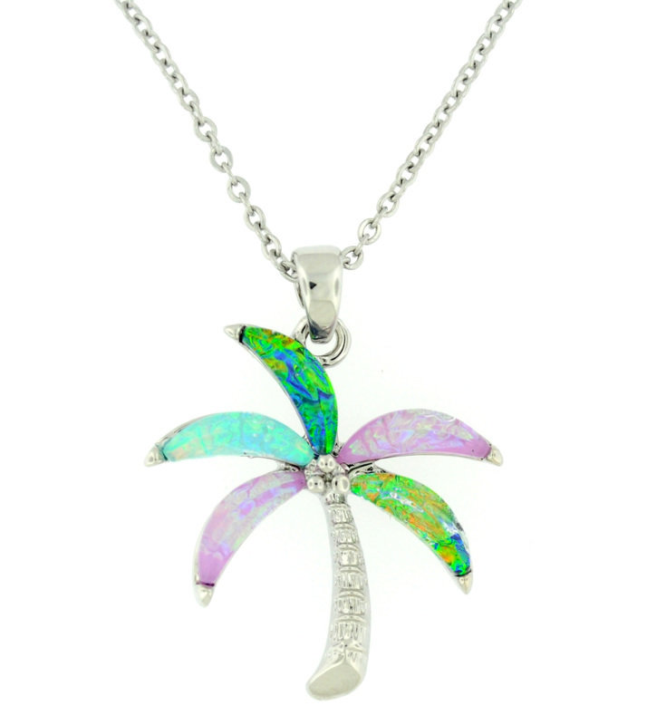 Multicolor palm tree necklace