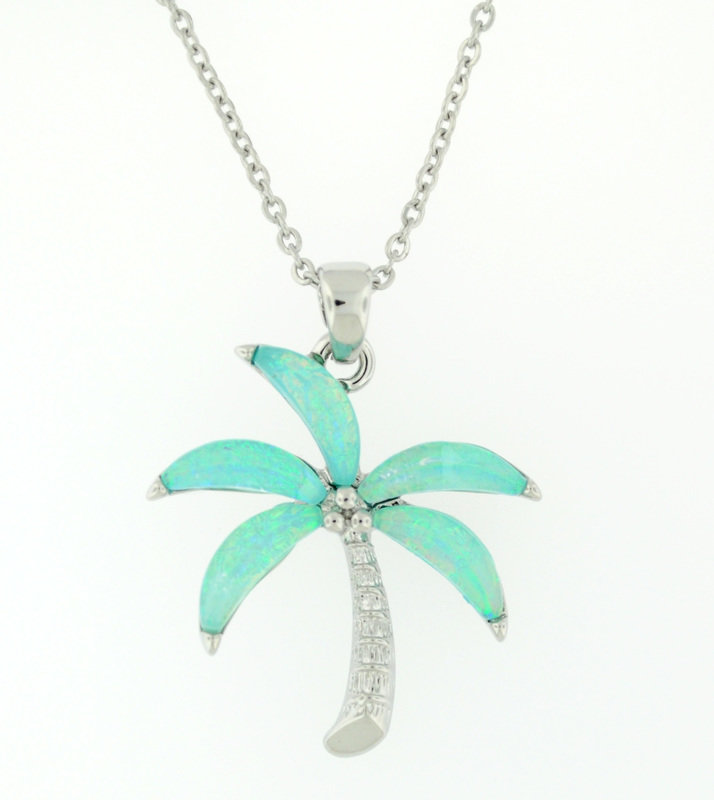light blue palm tree necklace