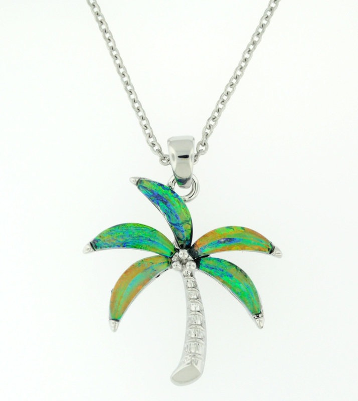 Blue/Green Palm tree necklace